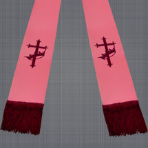 Pink and Burgundy Satin Clergy Stole with Cross & Crown