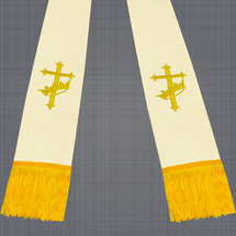 Champagne and Gold Satin Clergy Stole with Cross & Crown