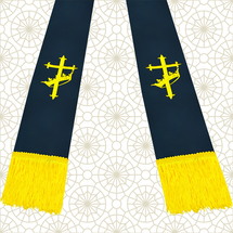 Navy Blue and Gold Satin Clergy Stole with Cross & Crown