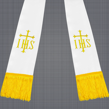 White and Gold Satin Clergy Stole with IHS & Cross