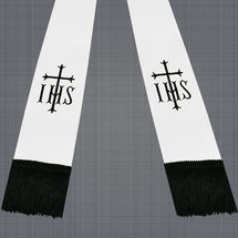 White and Black Satin Clergy Stole with IHS & Cross