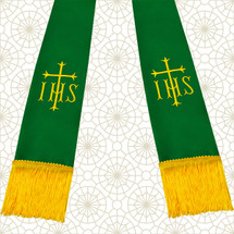 Emerald Green and Gold Satin Clergy Stole with IHS & Cross