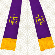 Purple and Gold Satin Clergy Stole with IHS & Cross
