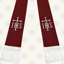 Burgundy and White Satin Clergy Stole with IHS & Cross