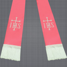 Pink and White Satin Clergy Stole with IHS & Cross