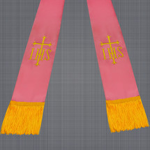 Pink and Gold Satin Clergy Stole with IHS & Cross
