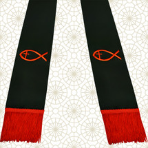 Black and Red Satin Clergy Stole with Jesus Fish