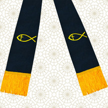 Black and Gold Satin Clergy Stole with Jesus Fish