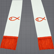 White and Red Satin Clergy Stole with Jesus Fish