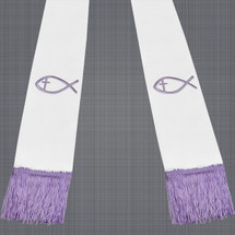White and Lavender Satin Clergy Stole with Jesus Fish