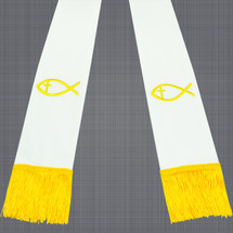 White and Gold Clergy Stole with Jesus Fish
