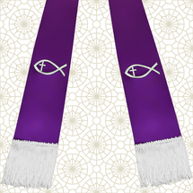 Purple and White Satin Clergy Stole with Jesus Fish
