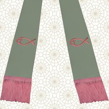 Gray and Pink Satin Clergy Stole with Jesus Fish