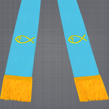Light Blue and Gold Satin Clergy Stole with Jesus Fish