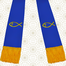 Royal Blue and Gold Satin Clergy Stole with Jesus Fish