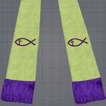 Metallic Gold and Purple Satin Clergy Stole with Jesus Fish