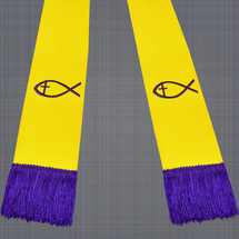 Gold and Purple Satin Clergy Stole with Jesus Fish