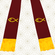 Burgundy and Gold Satin Clergy Stole with Jesus Fish