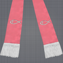 Pink and White Satin Clergy Stole with Jesus Fish