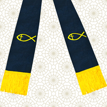 Navy Blue and Gold Satin Clergy Stole with Jesus Fish