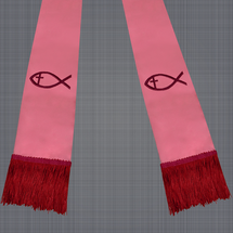Pink and Burgundy Satin Clergy Stole with Jesus Fish