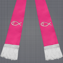 Fuchsia and White Satin Clergy Stole with Jesus Fish