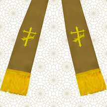Brown and Gold Satin Clergy Stole with Cross & Crown