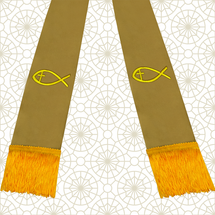 Brown and Gold Satin Clergy Stole with Jesus Fish