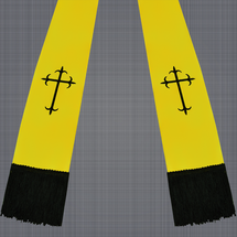 Gold and Black Satin Clergy Stole with Crosses