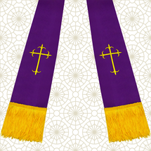 Purple and Gold Satin Clergy Stole with Crosses