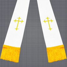 White and Gold Satin Clergy Stole with Crosses