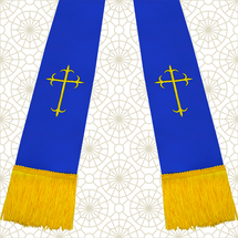 Royal Blue and Gold Satin Clergy Stole with Crosses