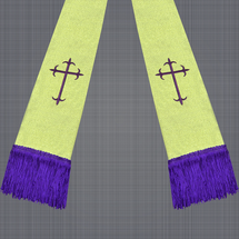 Metallic Gold and Purple Satin Clergy Stole with Crosses