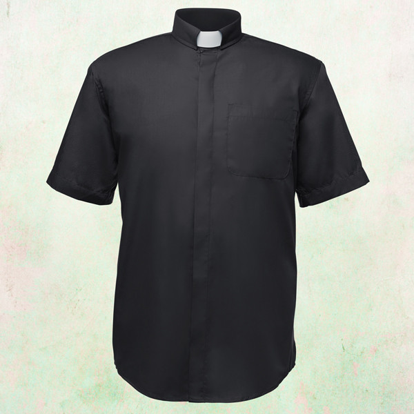 fb8b7a5287f Men s Short-Sleeve Clergy Shirt with Tab Collar in Black - Arkman s