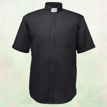 Men's Short-Sleeve Clergy Shirt with Tab Collar in Black