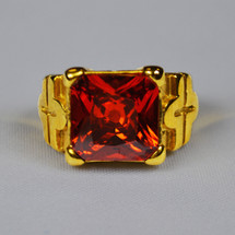 Elegant Apostle Square Ring in Cross Design with Red Stone