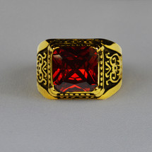 Elegant Apostle Square Ring in Emblem Design with Red Stone