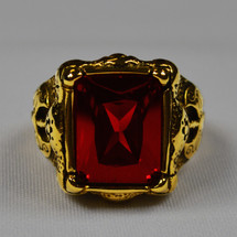 Elegant Apostle Rectangular Ring in Cross Insignia with Red Stone