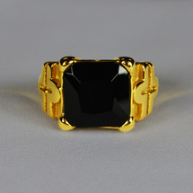Elegant Square Clergy Ring in Cross Design with Black Stone