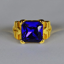 Elegant Square Ring in Cross Design with Royal Blue Stone