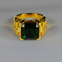 Elegant Square Clergy Ring in Cross Design w/ Emerald Green Stone