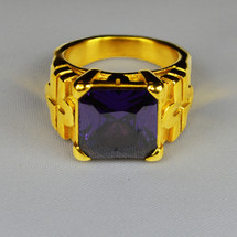 Elegant Square Ring in Cross Design with Purple Bishop Stone