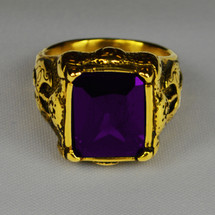 Elegant Rectangular Ring in Cross Insignia with Purple Bishop Stone
