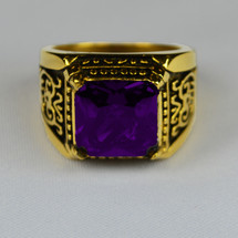 Elegant Square Clergy Ring in Emblem Design with Purple Bishop Stone