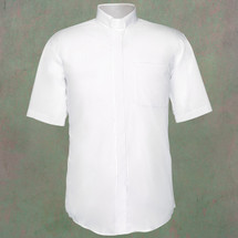 Men's Short-Sleeve Clergy Shirt with Tab Collar in White