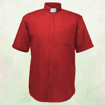 Men's Short-Sleeve Clergy Shirt with Tab Collar in Red
