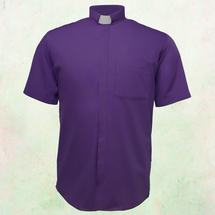 Men's Short-Sleeve Clergy Shirt with Tab Collar in Purple