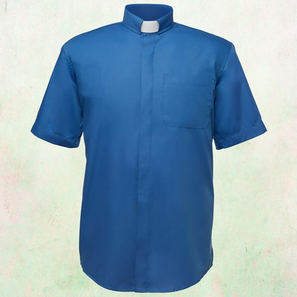 9ac2ed17e3f Men s Short-Sleeve Clergy Shirt with Tab Collar in Royal Blue - Arkman s