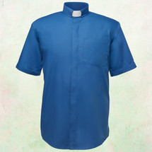 Men's Short-Sleeve Clergy Shirt with Tab Collar in Royal Blue