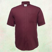 Men's Short-Sleeve Clergy Shirt with Tab Collar in Burgundy